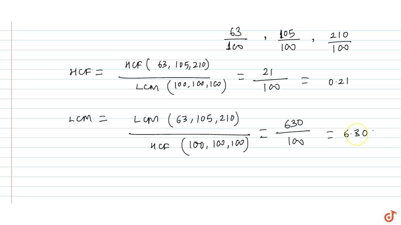 Solution for HCF and LCM of fractions and decimal fractions
