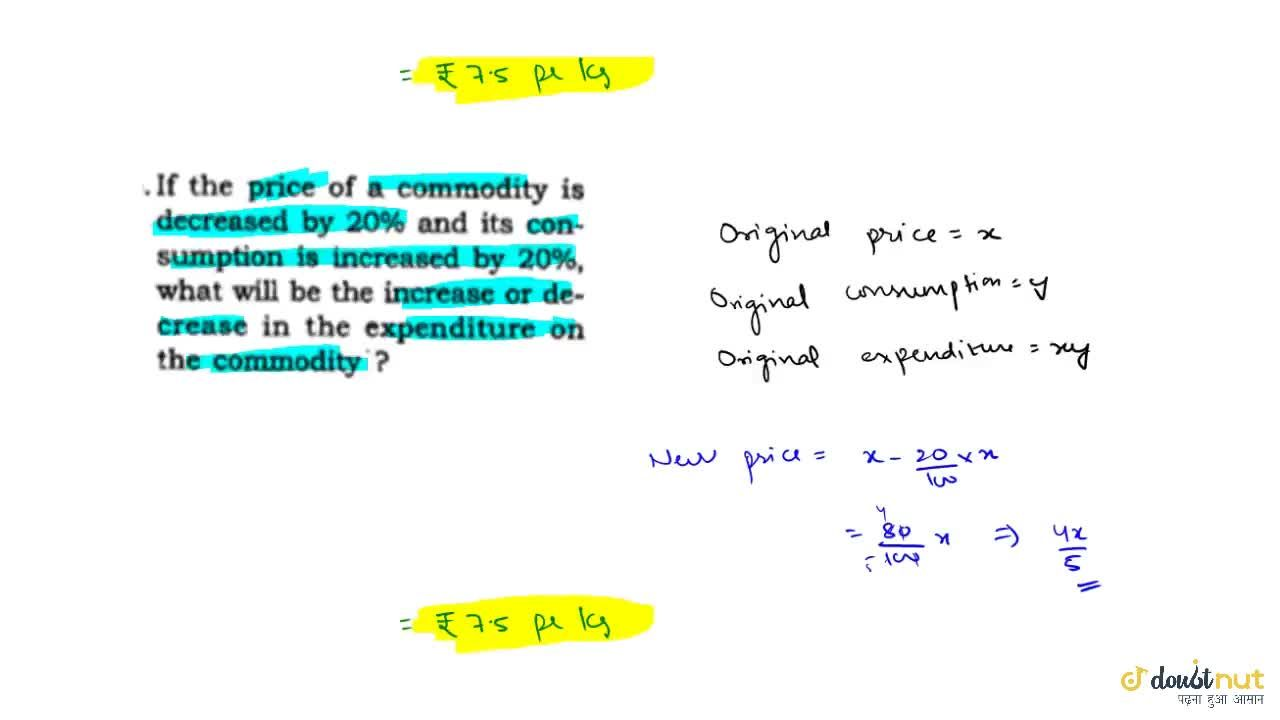 Solution for If the price of a commodity decreases by R%: then