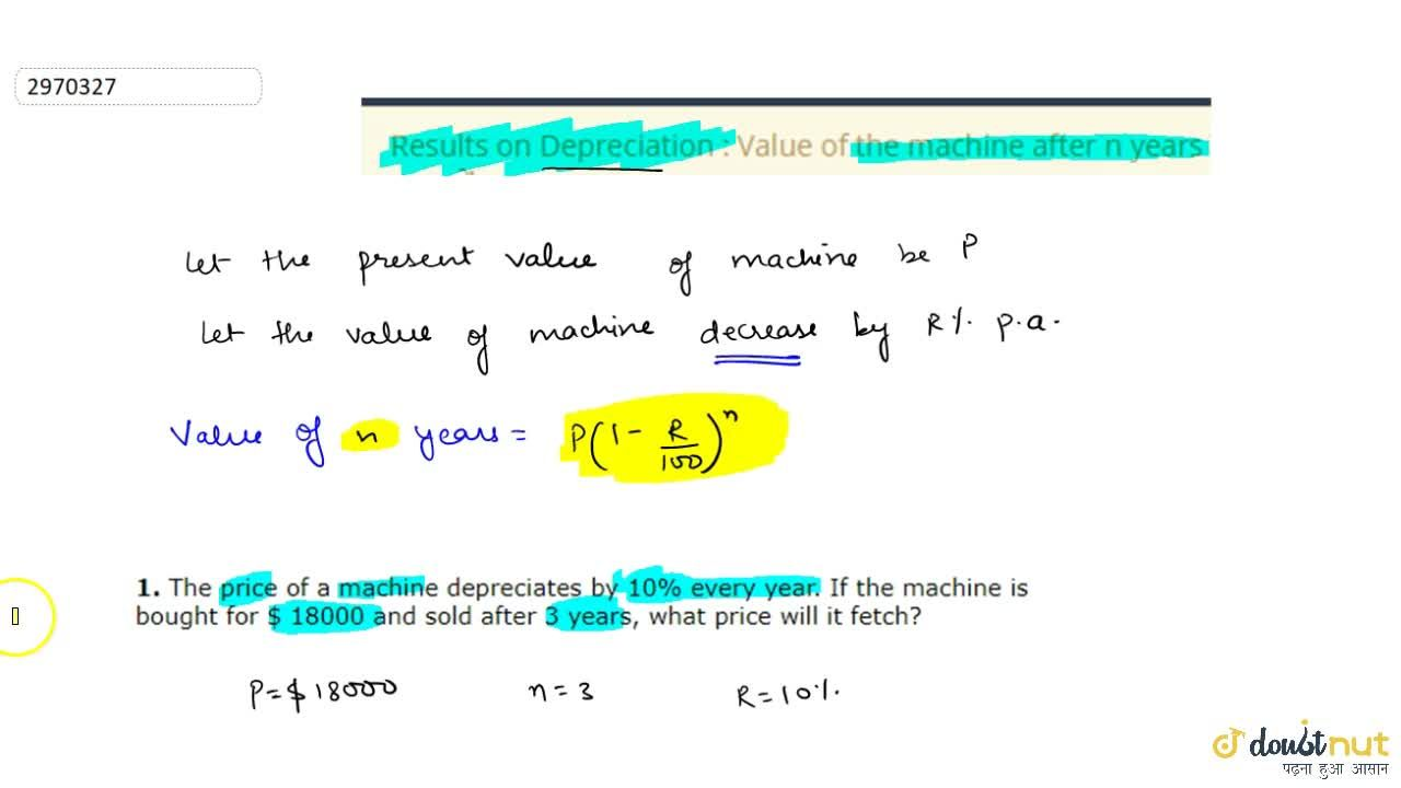 Solution for Results on Depreciation : Value of the machine aft