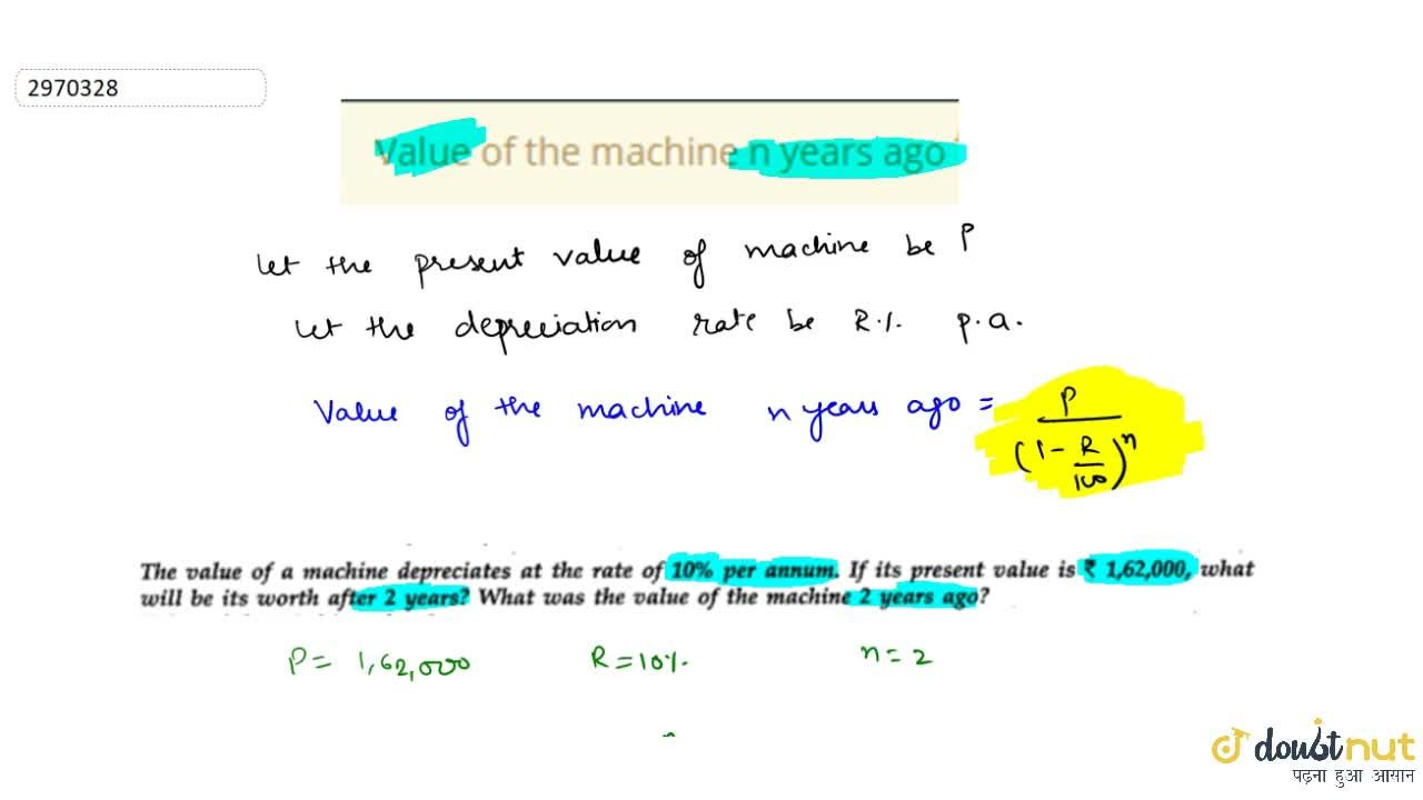 Solution for Value of the machine n years ago किसी मशीन का मूल्