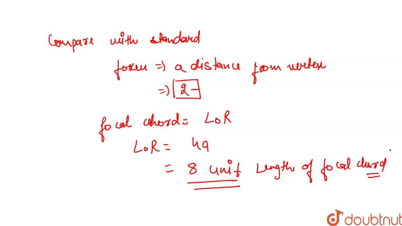 Solution for Length of the focal chord of the parabola (y +3)^