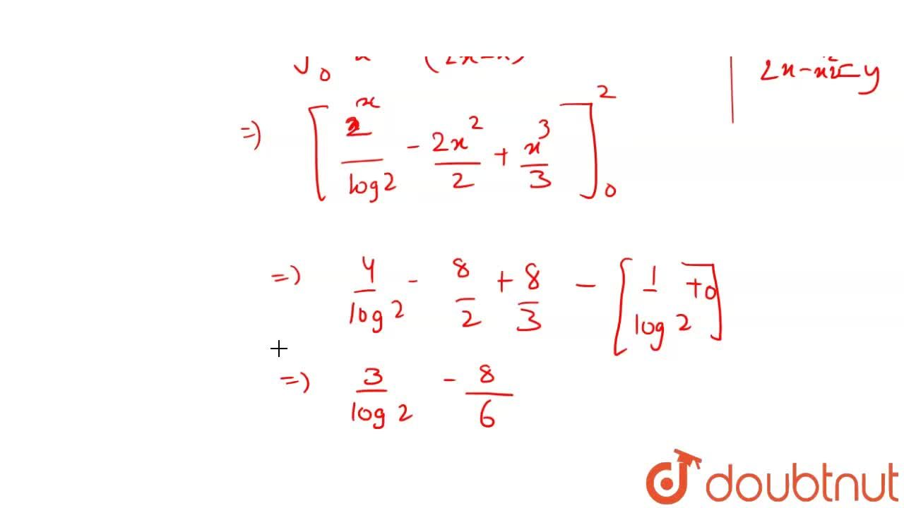 Solution for Area of the region bounded by the curves y=2^(x),