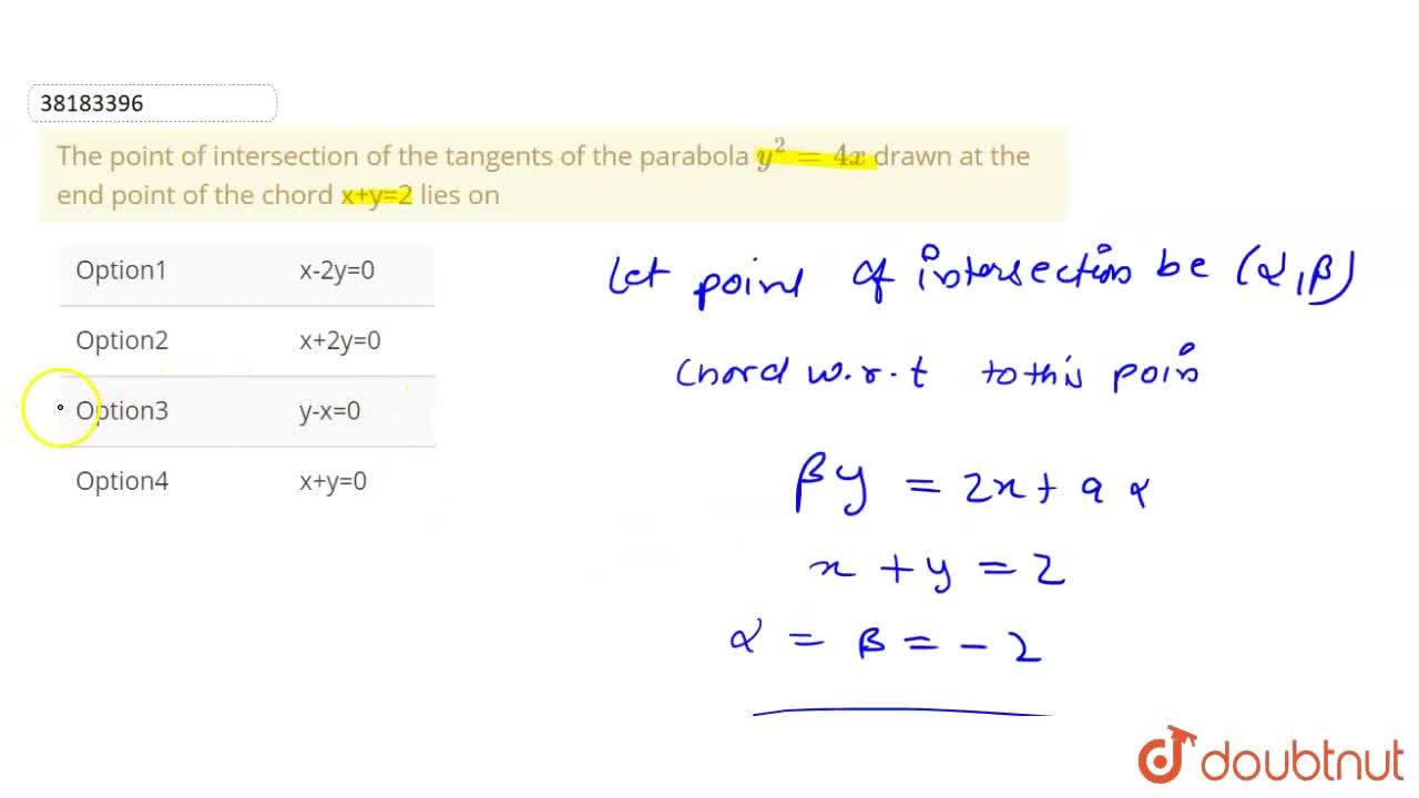 Solution for The point of intersection of the tangents of the p