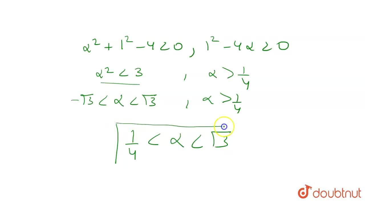 Set of value of alpha for which the point (alpha,1) lies inside the circle x^(2)+y^(2)-4=0 and parabola y^(2)=4x is