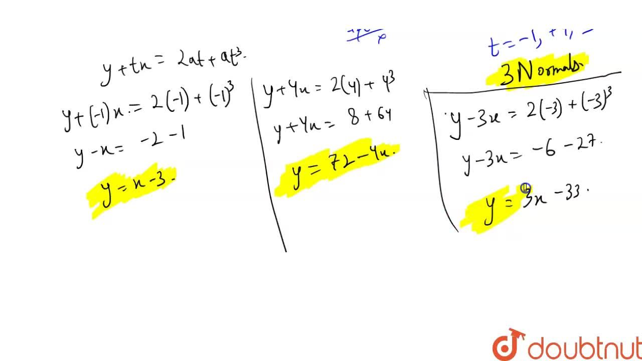 Solution for How many normals can be drawn to parabola y^(2)=4