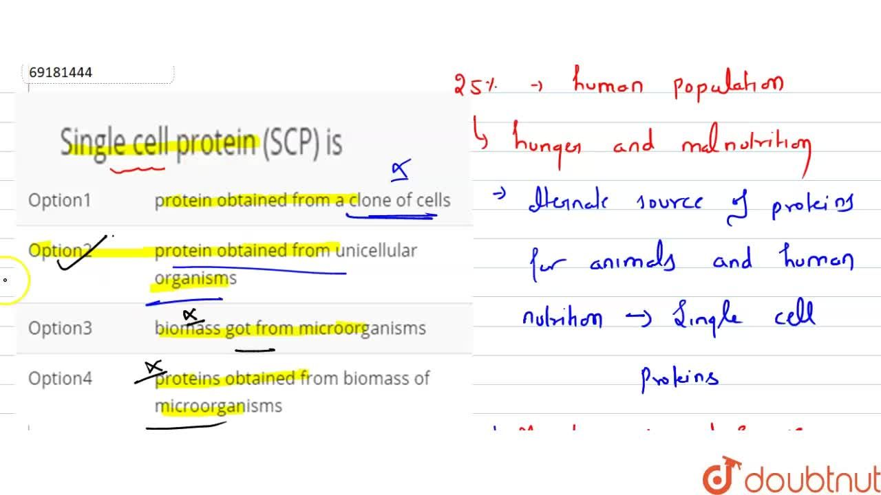 Solution for Single cell protein (SCP) is