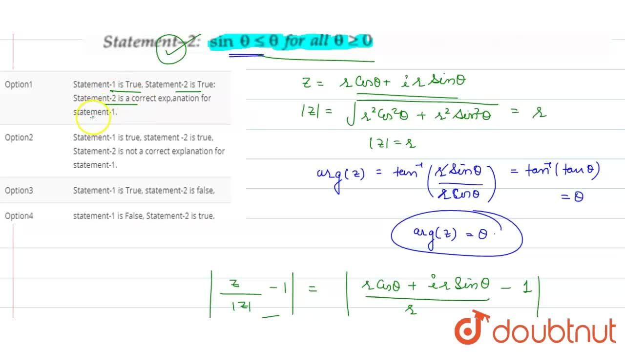 Solution for Statement-1: for any non-zero complex number  z,