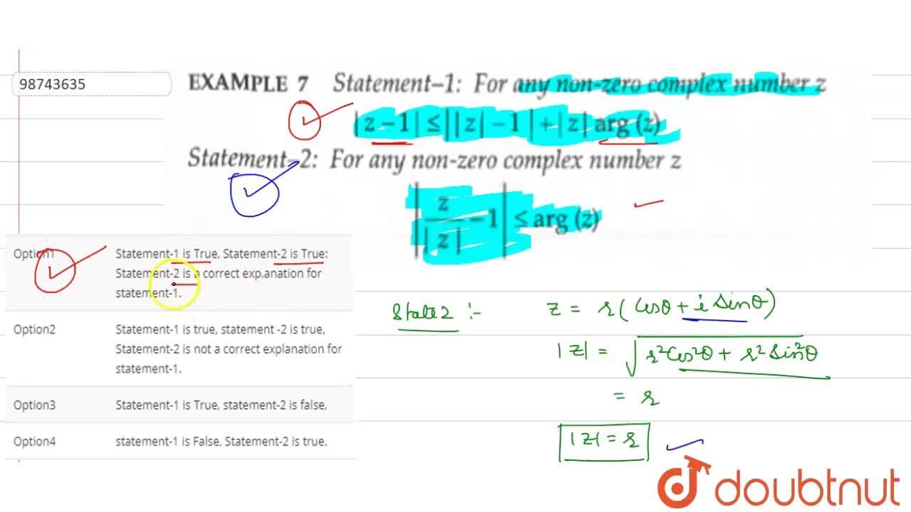 Solution for Statement-1: for any non-zero complex number  z-1