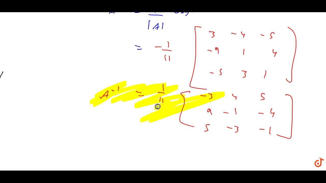 For the matrix A=[(1, 1, 1),( 1, 2,-3),( 2, 1, 3)]. Show that A^3-6A^2+5A+11 I=0. Hence, find A^(-1).