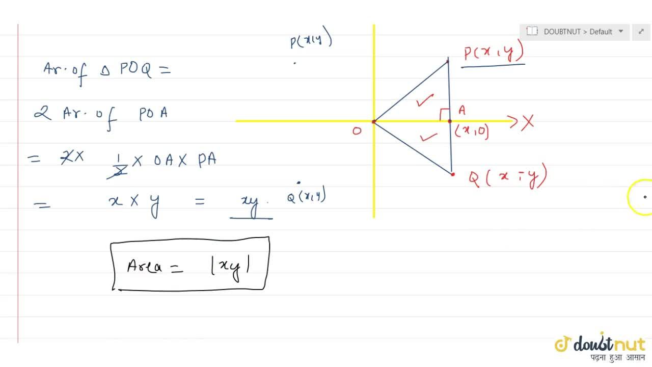 The area of the triangle formed by theorigin, the point P(x,y) and its reflection in X-axis is