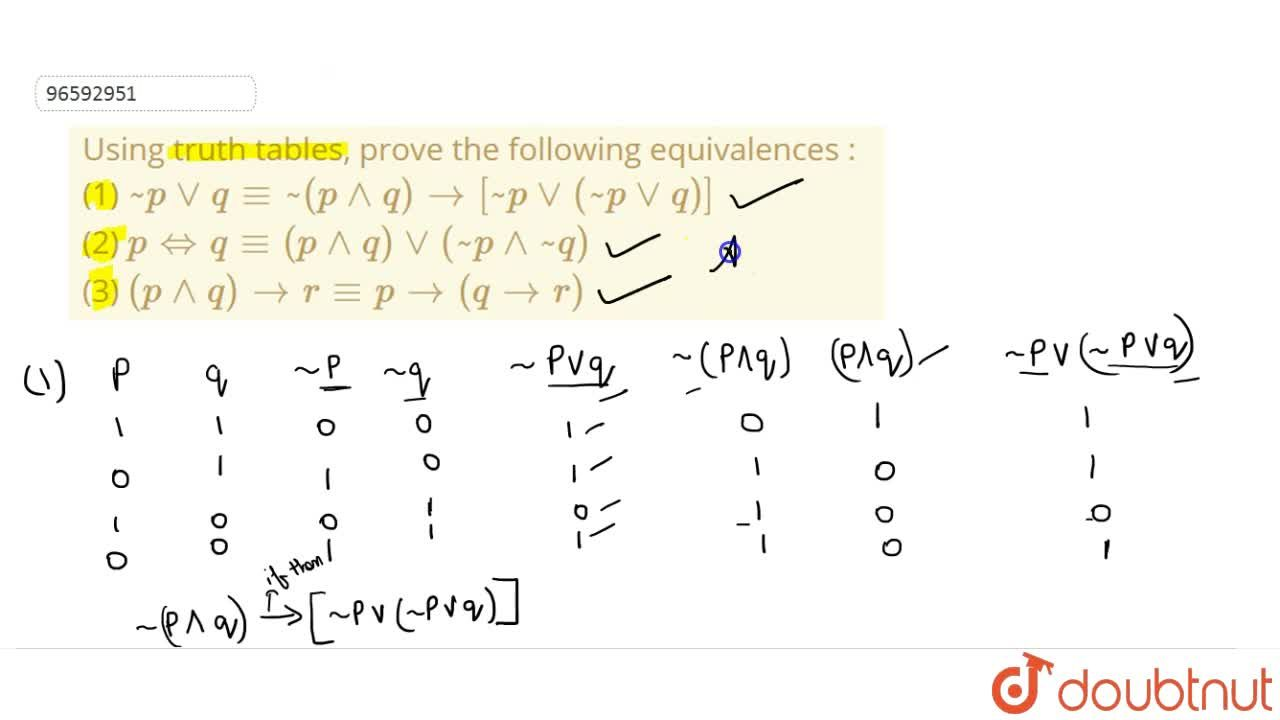 Solution for Using truth tables, prove the following equivalenc