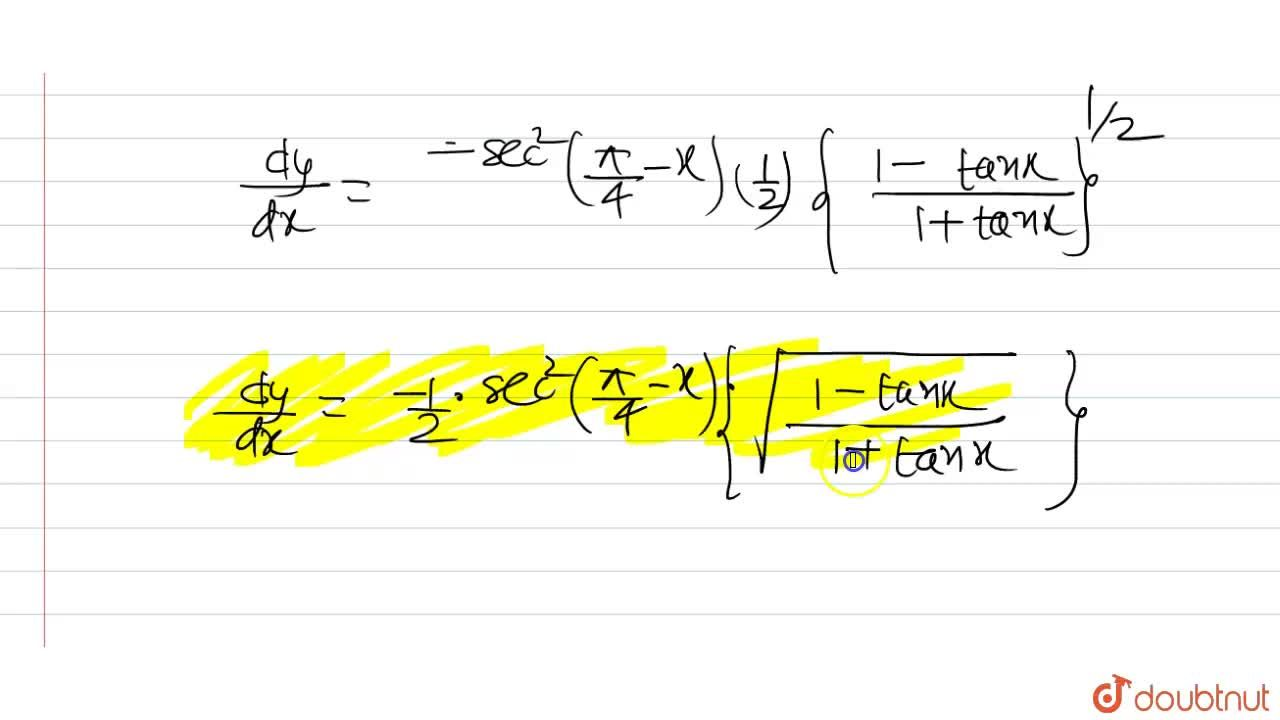 Solution for sqrt(((1-tanx),(1+tanx)))