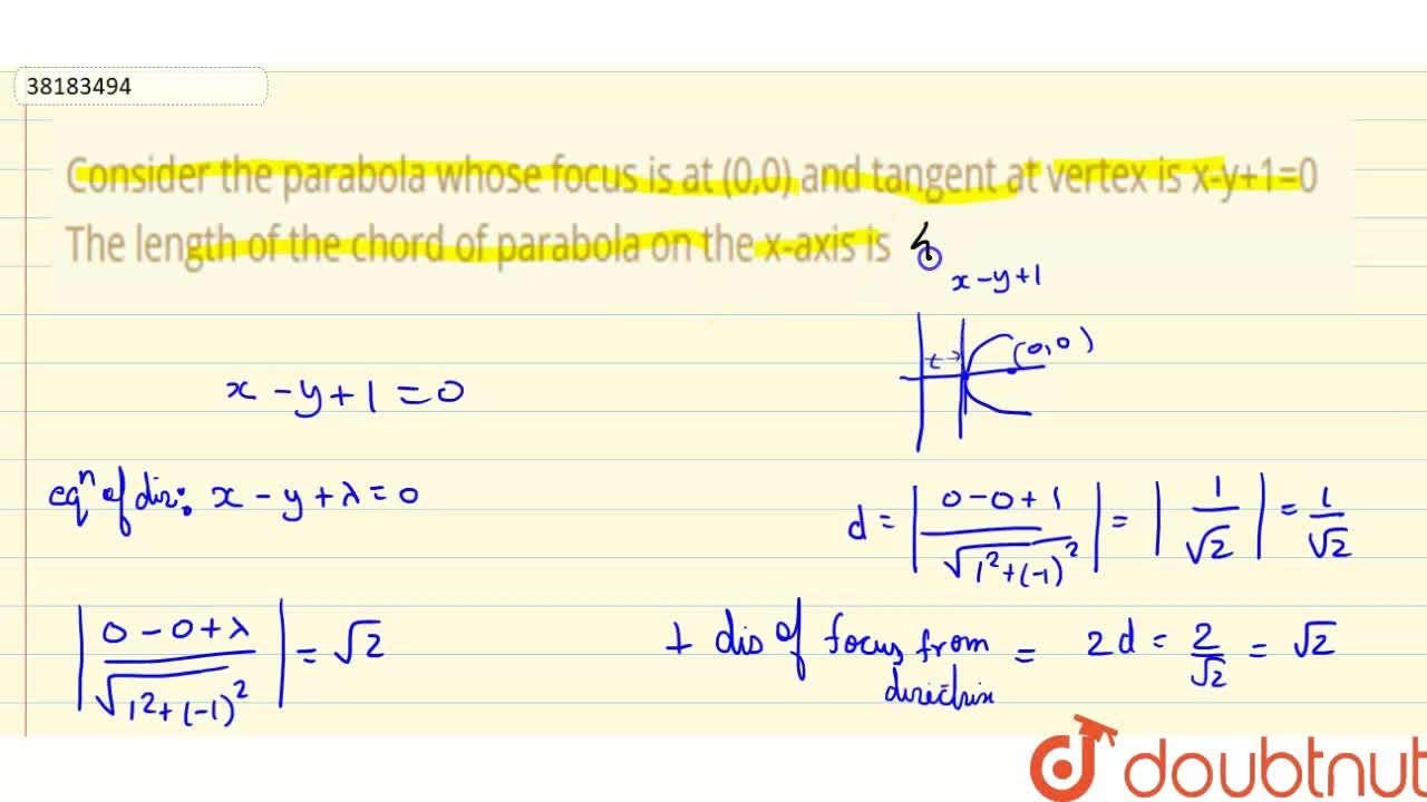 Solution for Consider the parabola whose focus is at (0,0) and