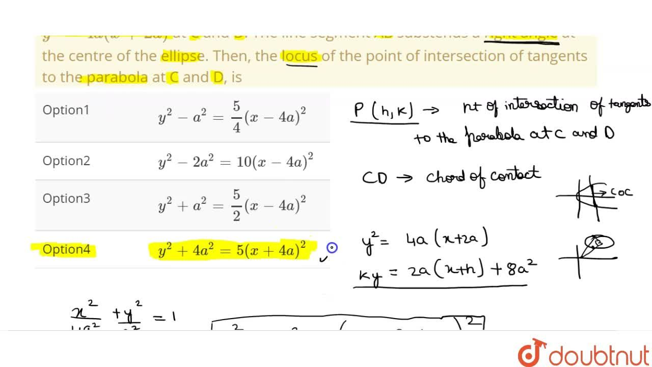Solution for A line intesects the ellipse (x^(2)),(4a^(2))+(y^