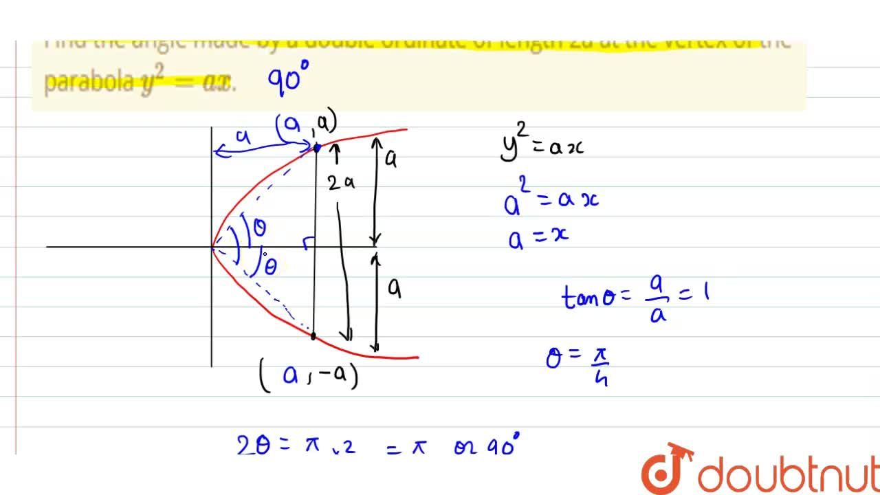 Solution for Find the angle made by a double ordinate of length