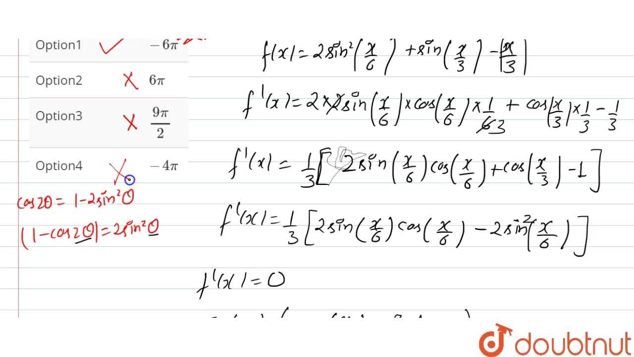 Solution for The critical points of the function <br> f(x)=2si