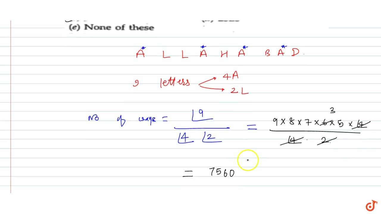Solution for Problems based on finding the no of arrangement of