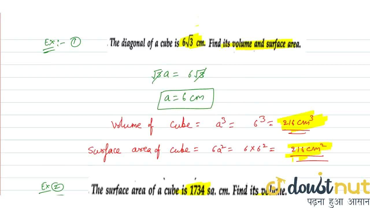 Solution for Volume and surface area of cube