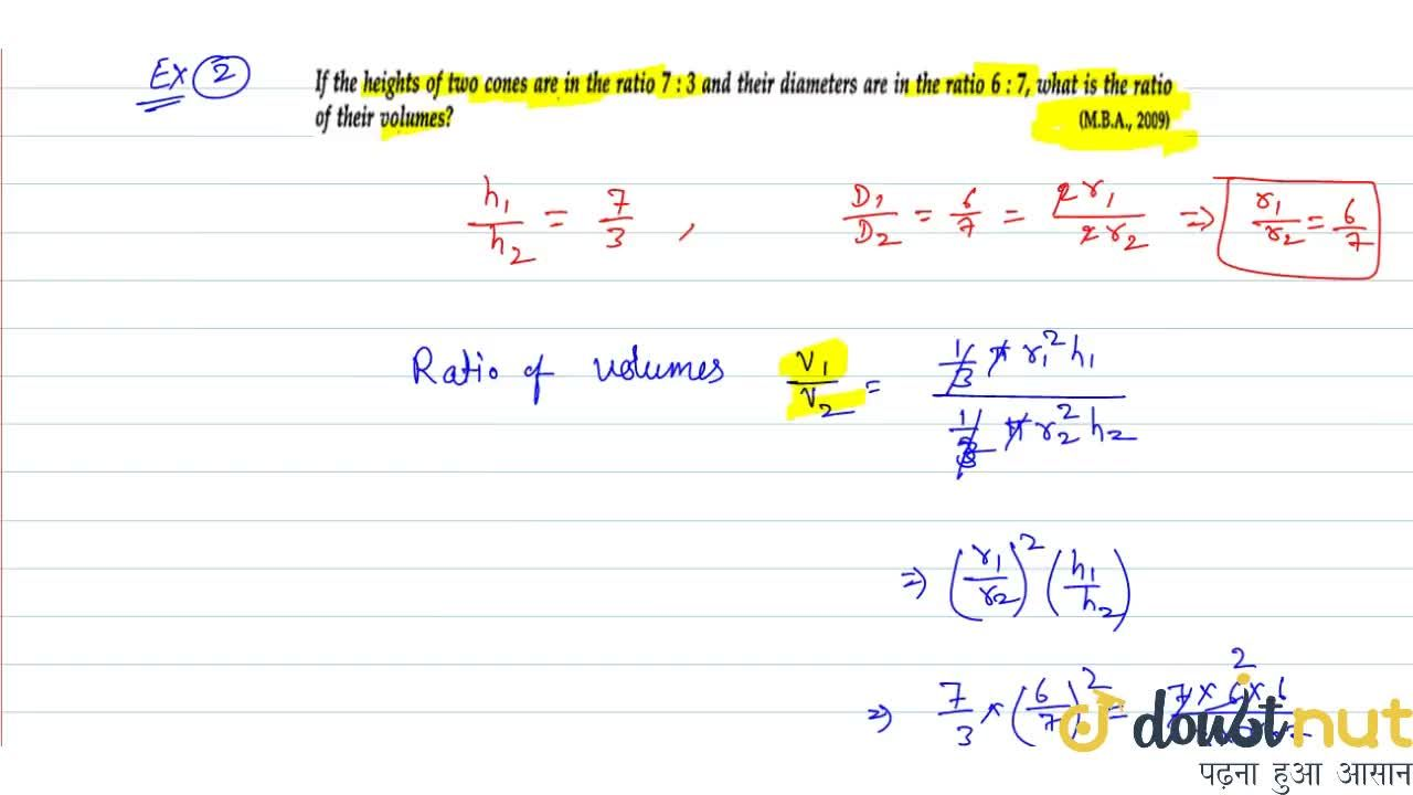 Solution for Volume and surface area of cone