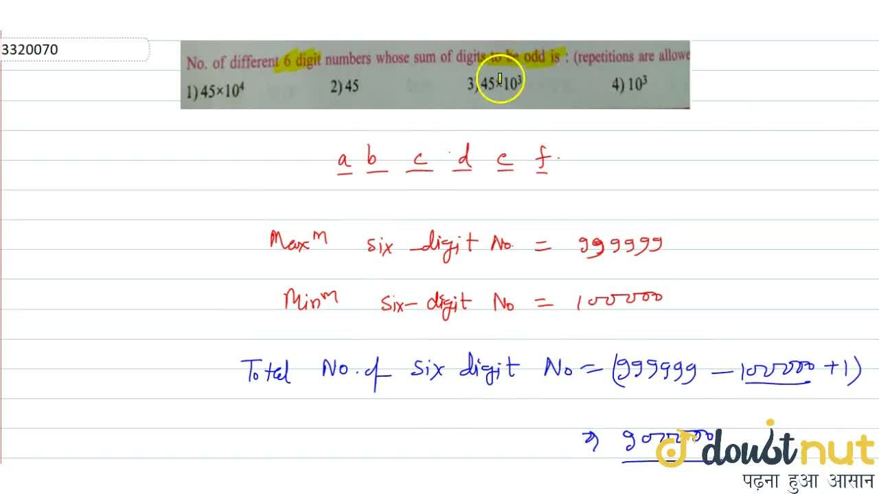 Solution for No. of different 6 digit numbers whose sum of digi