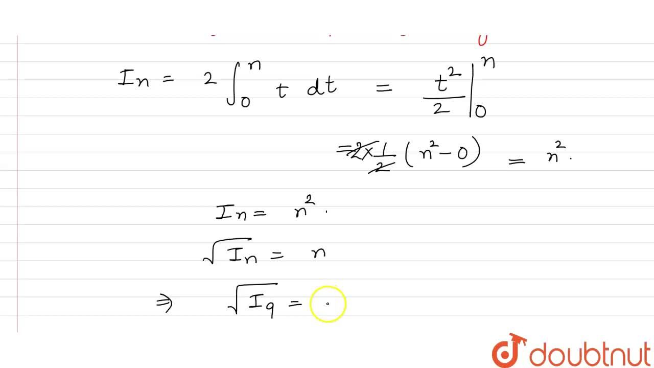 If I_(n)=int_(0)^(1)(1+x+x^(2)+....+x^(n-1))(1+3x+5x^(2)+....+(2n-3)x^(n-2)+(2n-1)x^(n-1))dx,n in N, then the value of sqrt(I_(9)) is