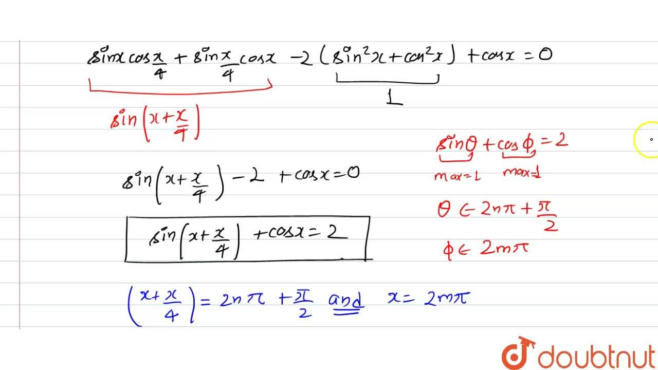 """Solution for Solve sin x(""""cos""""x,4-2 sin x)+(1+""""sin""""x,4-2 cos x"""