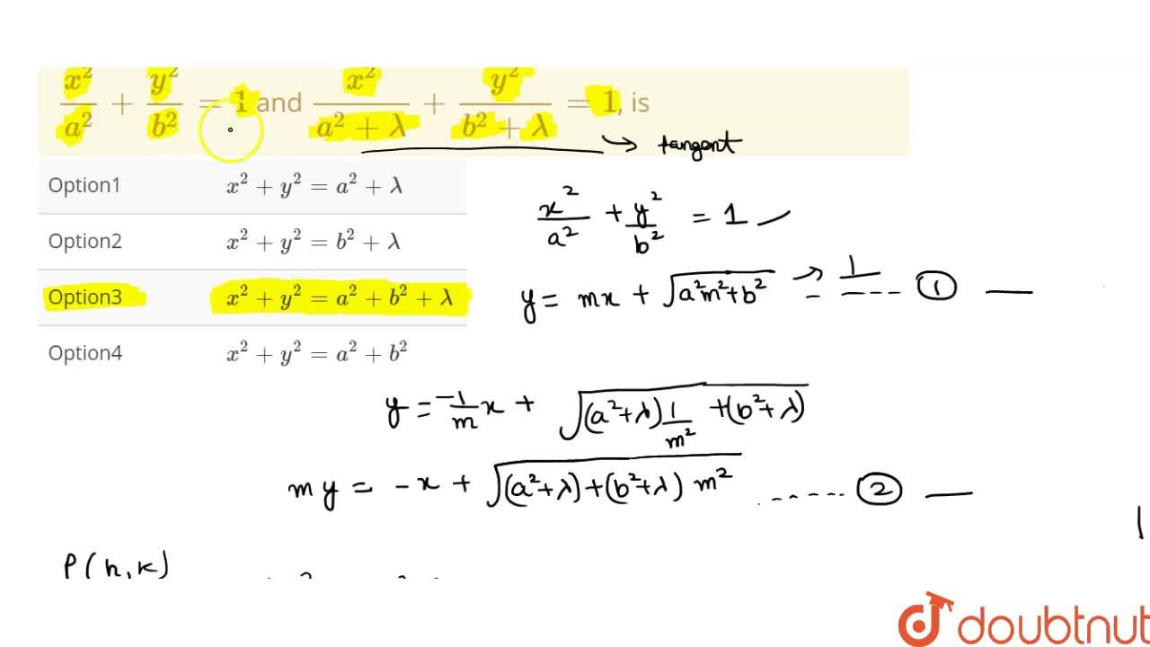 Solution for The locus of the point of intersection of perpendi