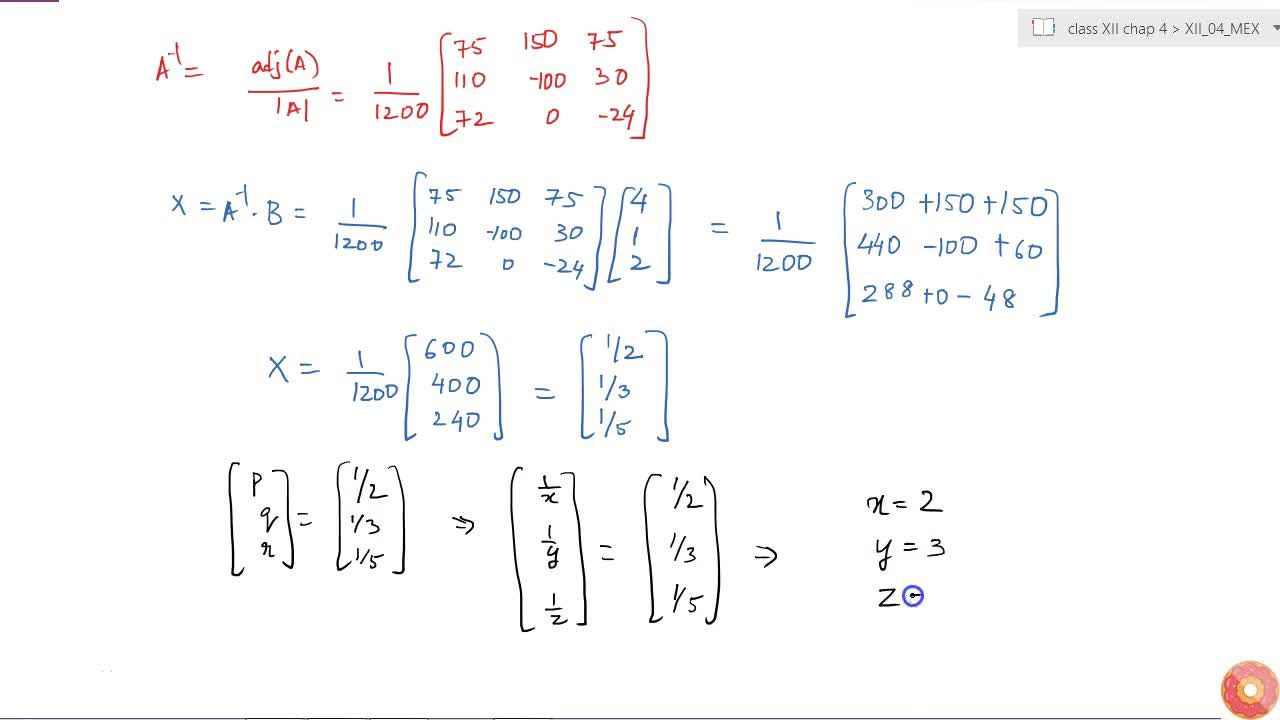 Solve the system of equations<br>2,x+3,y+(10),z=4<br>4,x-6,y+5,z=1<br>6,x+9,y-(20),z=2