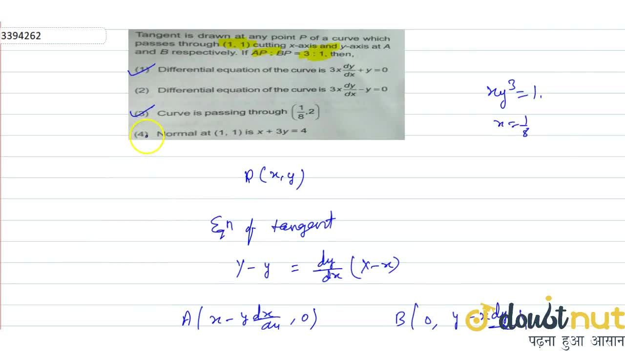 Solution for Tangent is drawn at any point P of a curve which p