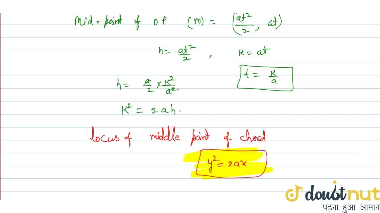 Solution for Prove that the locus of the middle points of all c