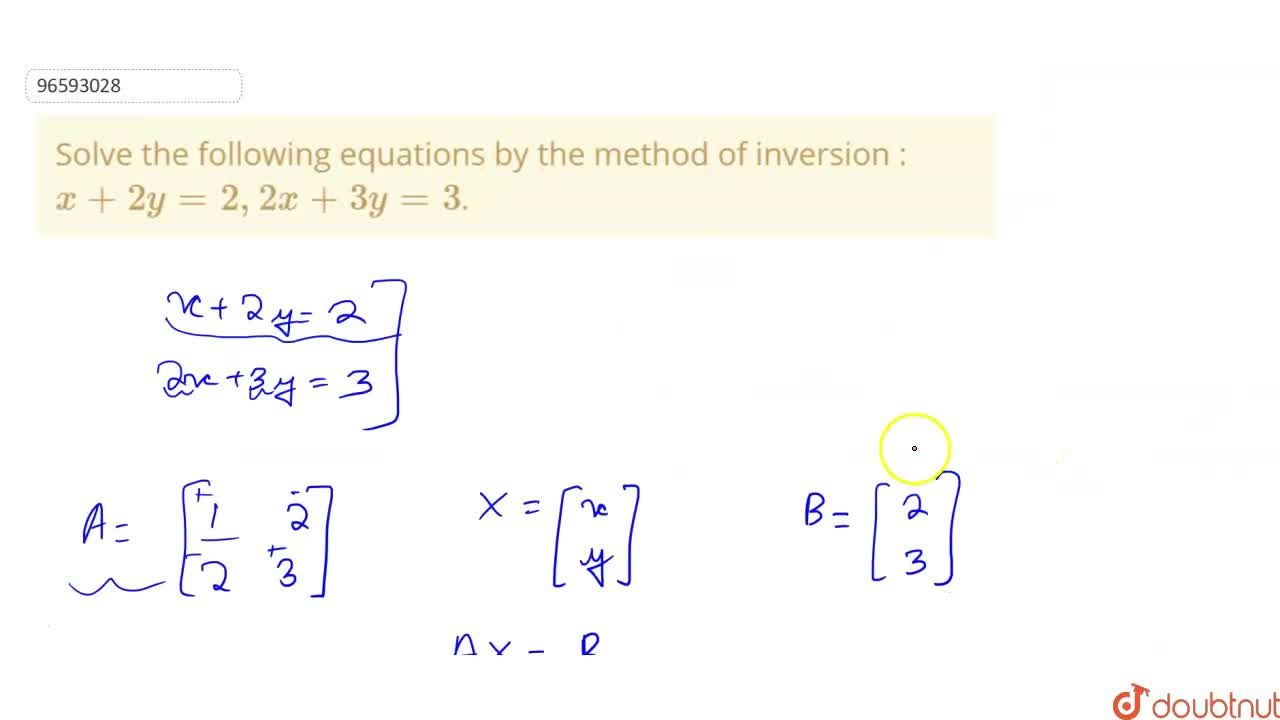 Solution for Solve the following equations by the method of inv