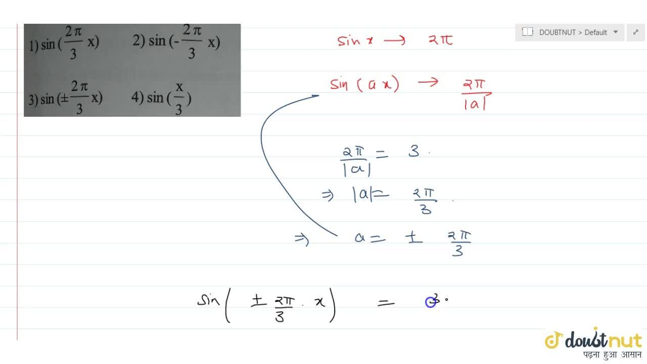 Solution for The sine function whose period is 3 is