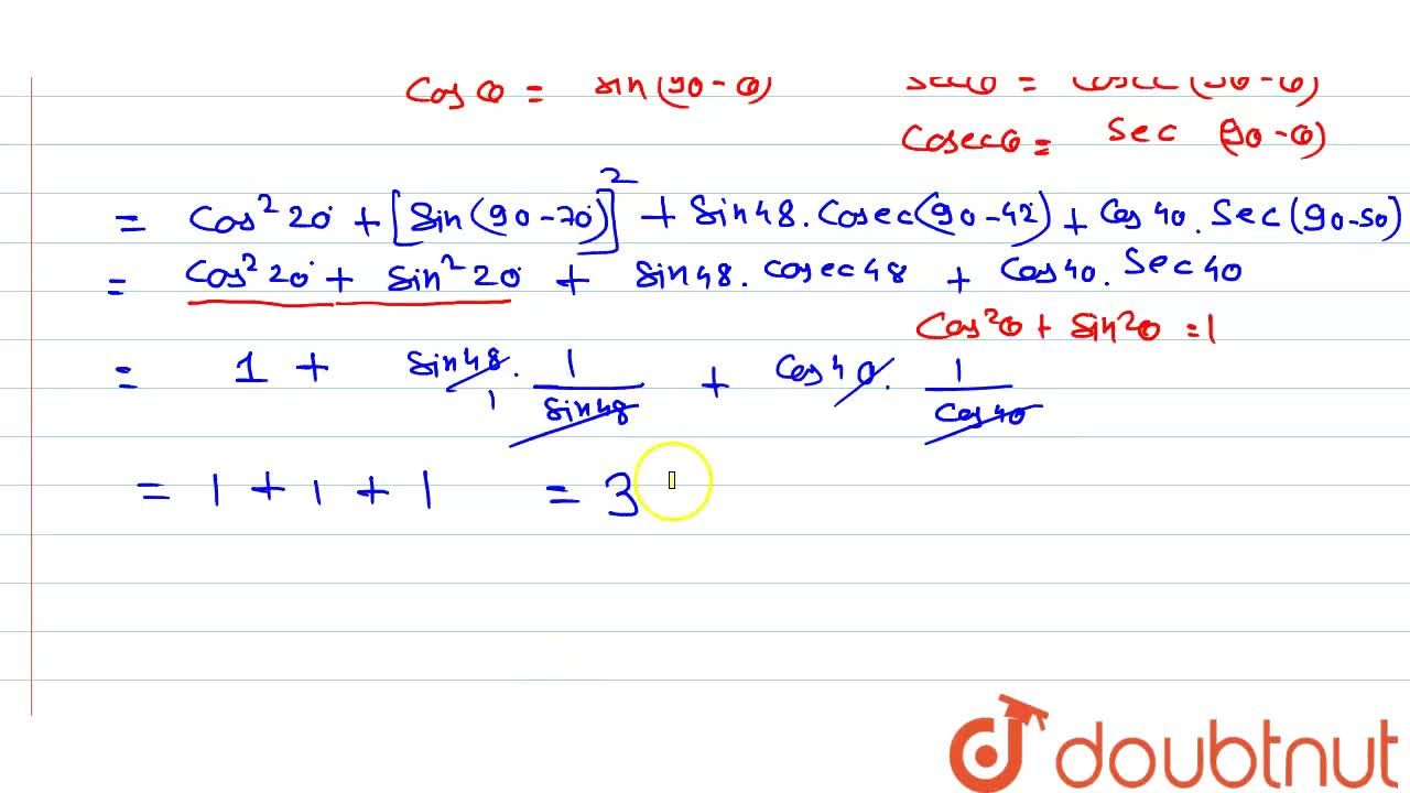 Solution for cos^(2) 20^(@) + cos ^(2) 70^(@) + sin 48^(@)  se