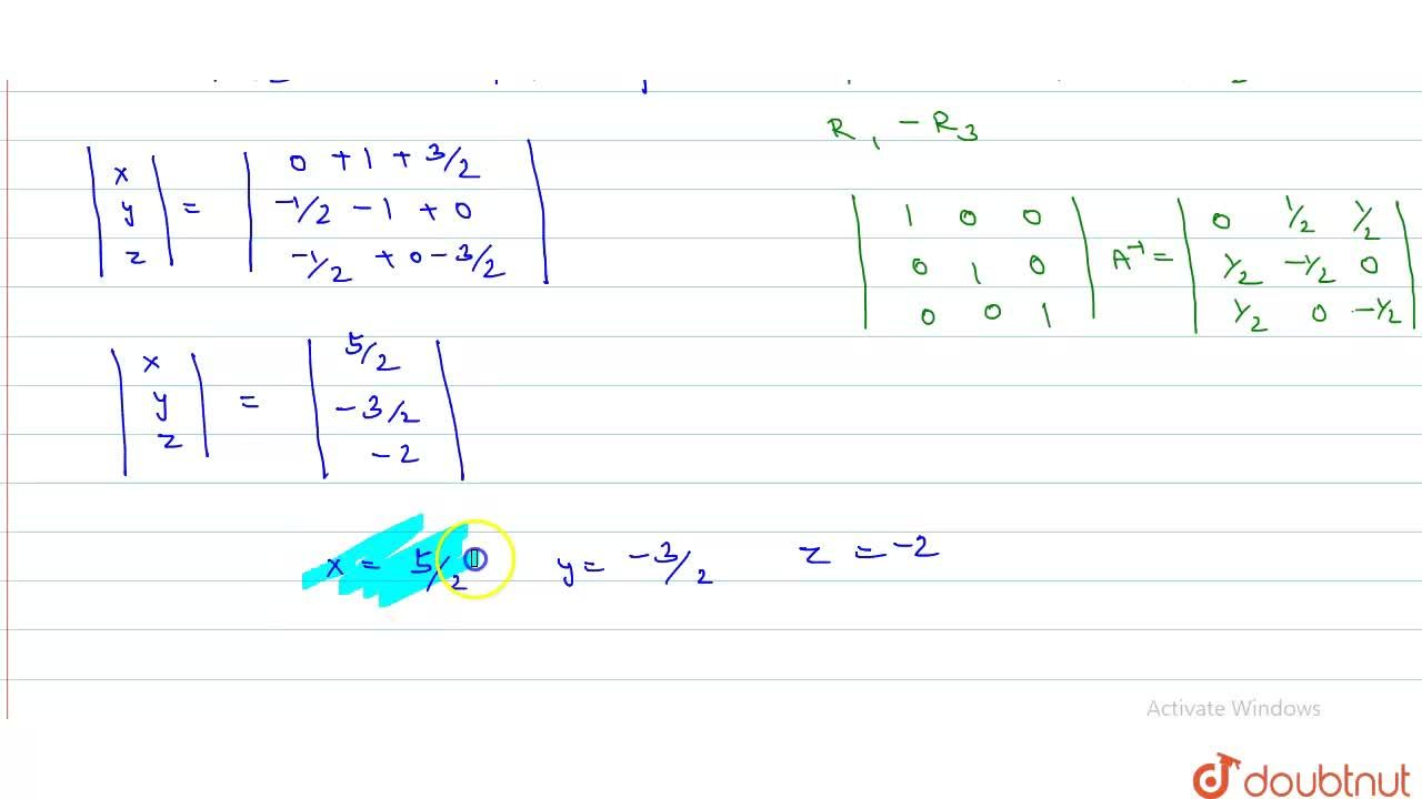 Solution for Solve  the following equations by the invers metho