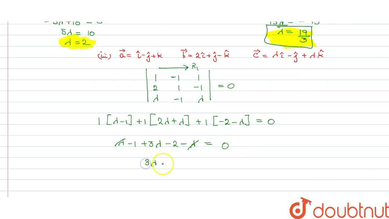 Solution for Find the value of lambda for which the vectors