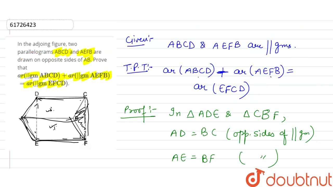 Solution for In the adjoing figure, two parallelograms ABCD and