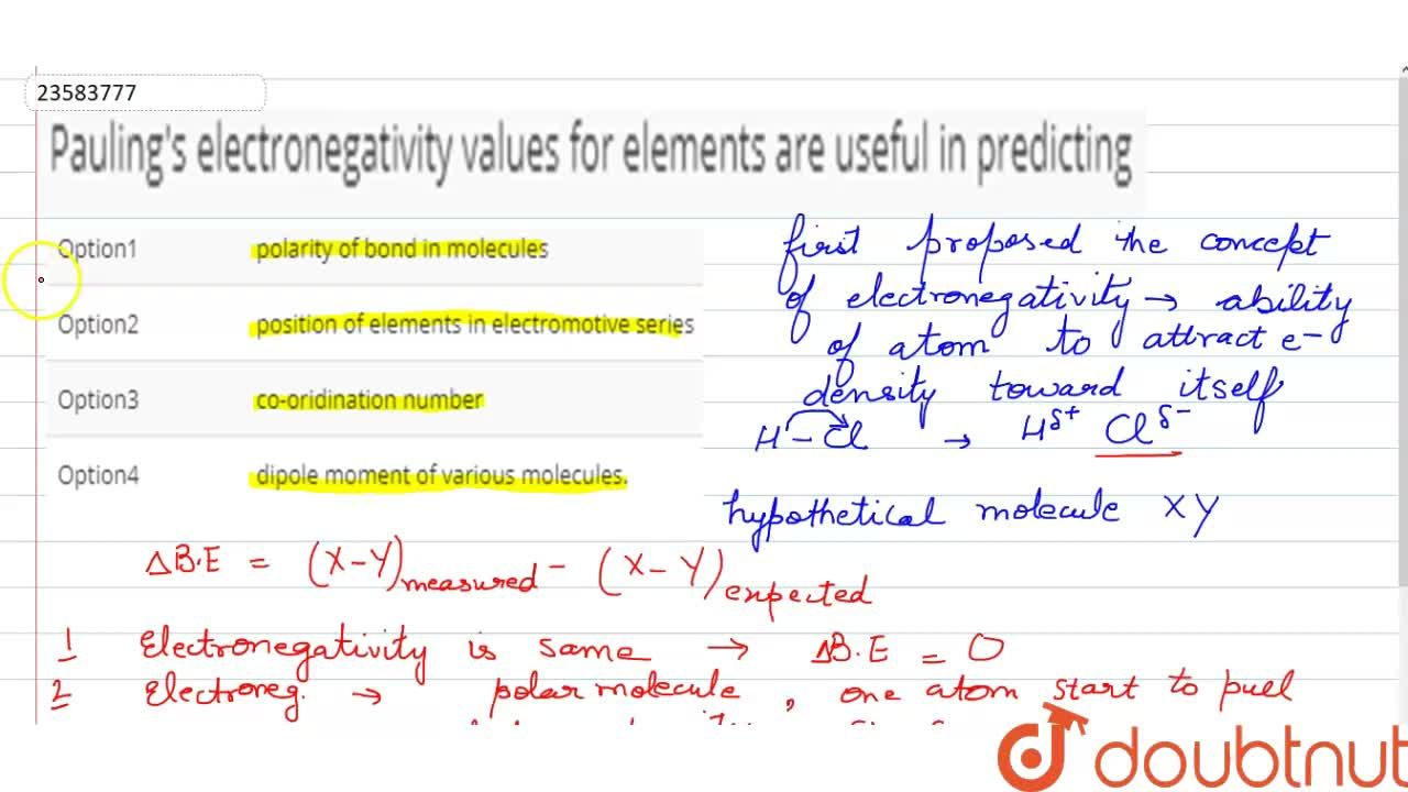 Solution for Pauling's electronegativity values for elements ar