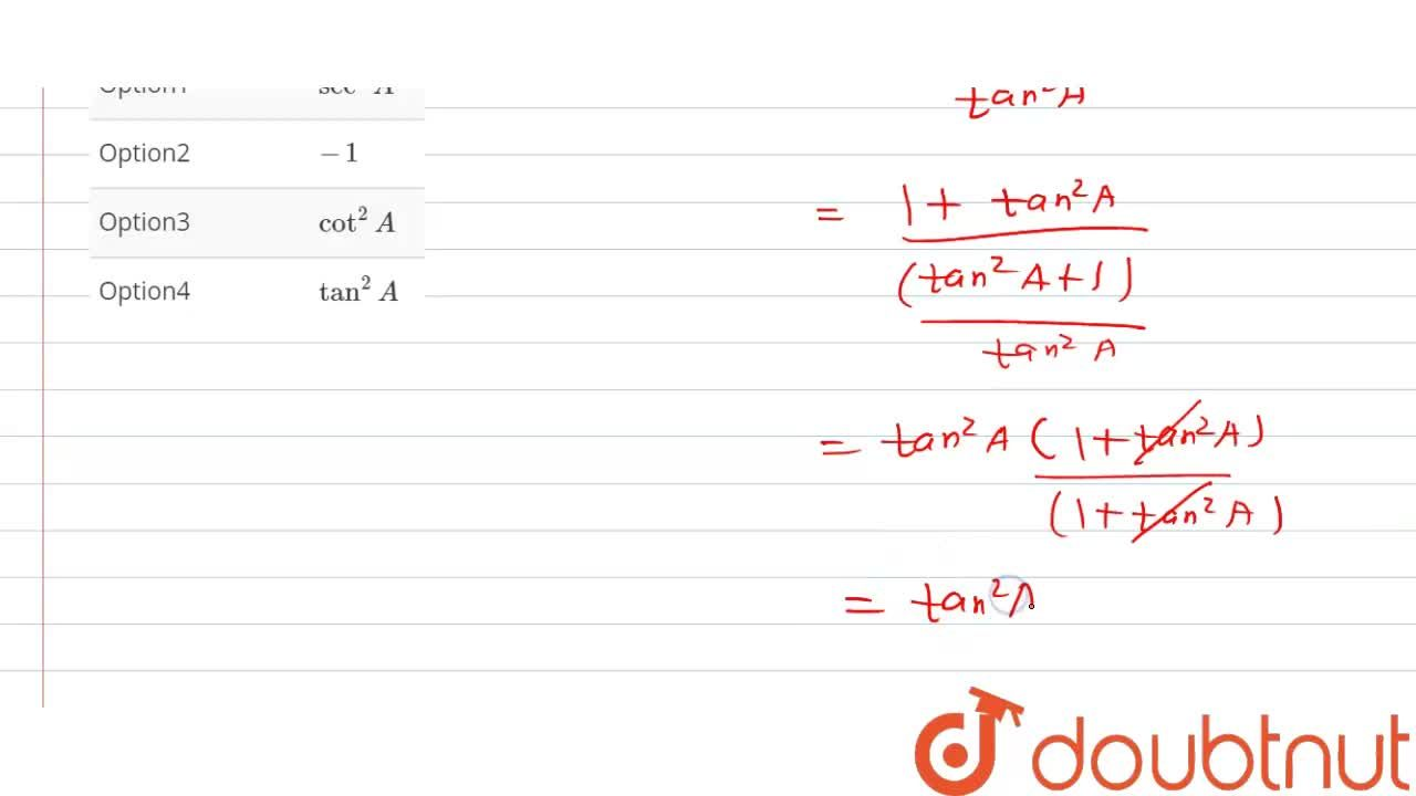 Solution for (1+tan^(2)A),(1+cot^(2)A)=..