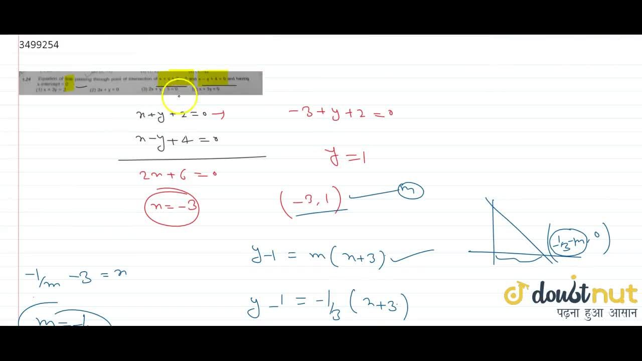 Solution for Equation of line passing through point of intersec