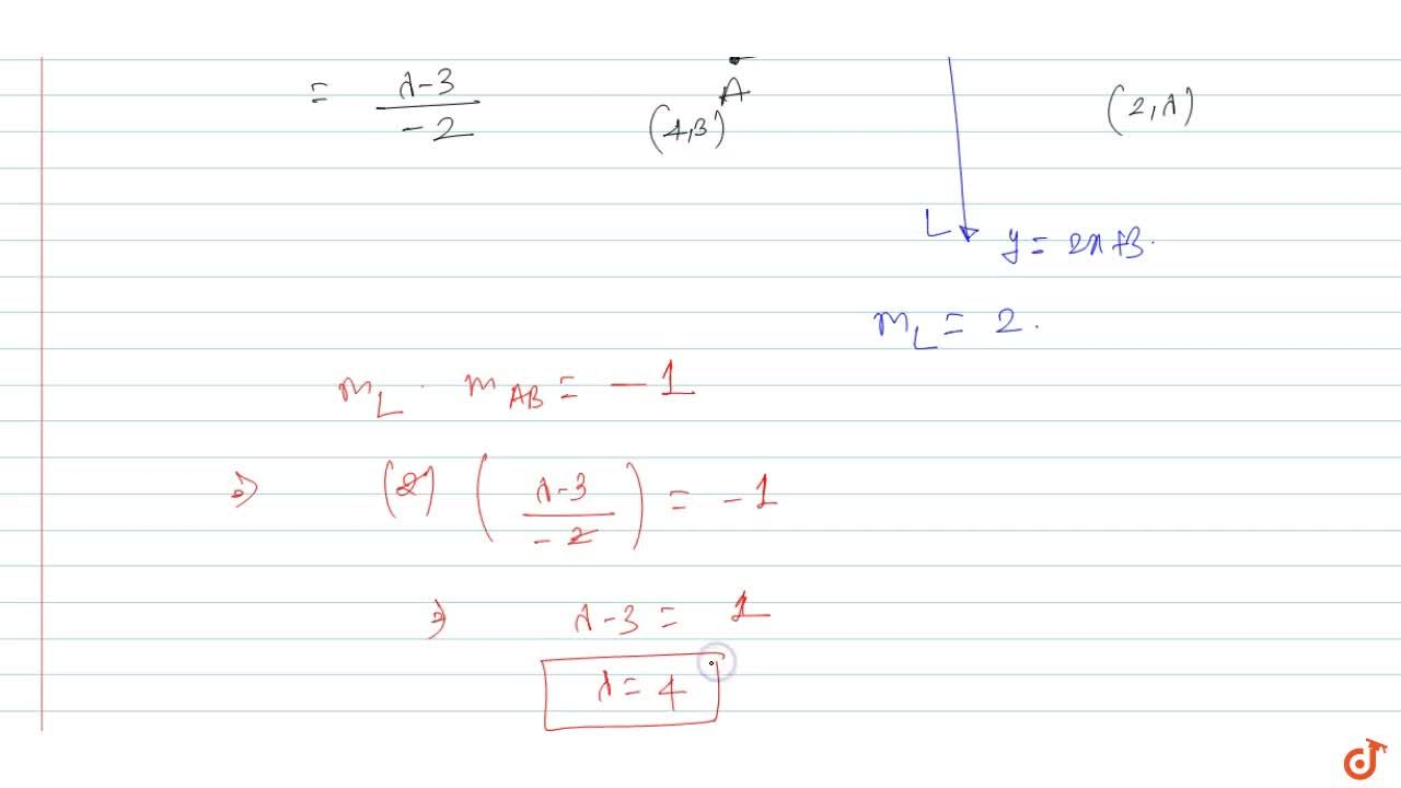 If the line passing through the points (4, 3) and (2, lambda) is perpendicular to the line y=2x+3, then lambda is equal to