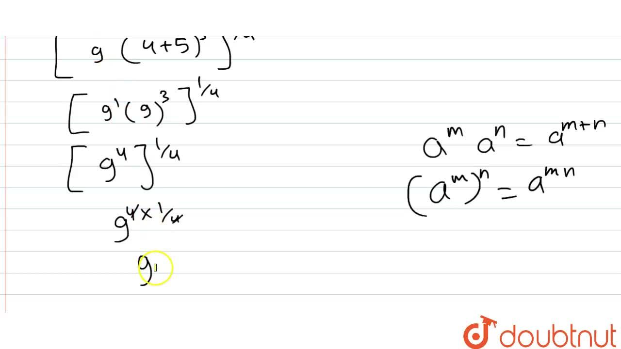Solution for सरल कीजिए । [9(64^(1,,3)+125^(1,,3))^(3)]^(1,,4)