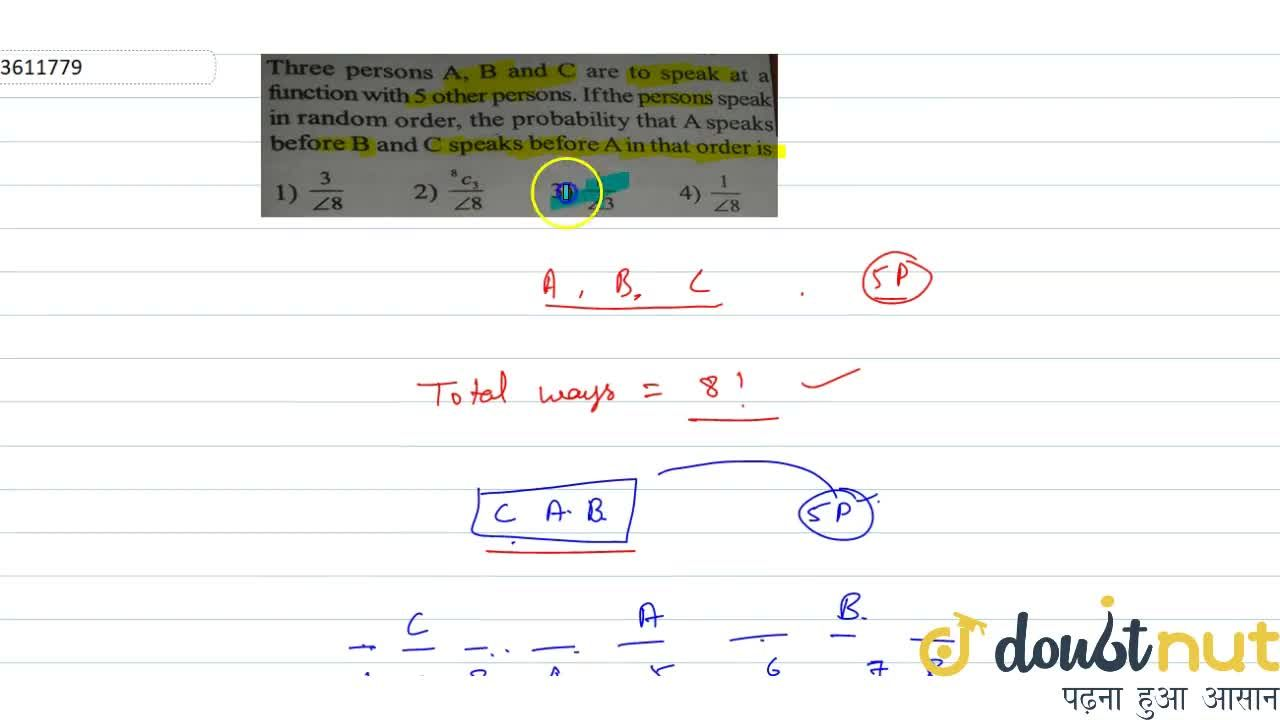 Solution for Three persons A, B and C are to speak at a functio