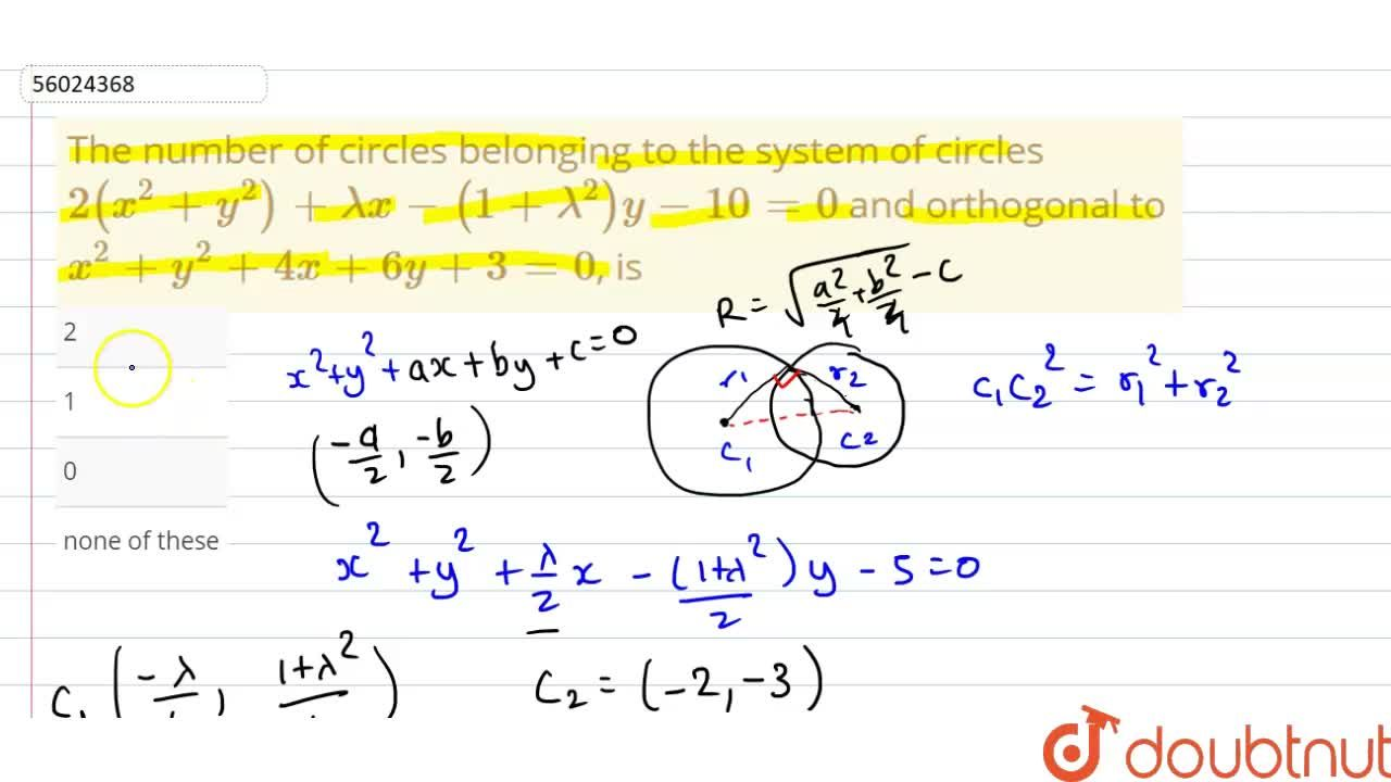 Solution for The number of circles belonging to the system of c