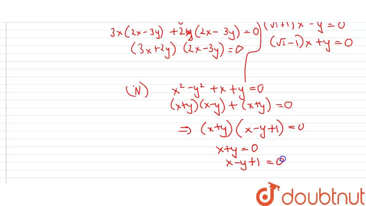 Solution for Find the separate equations of the lines represent
