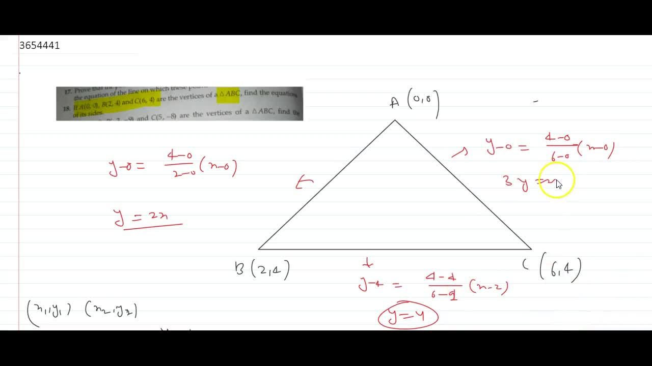 Solution for If A(0, 0), B(2, 4) and C(6, 4) are the vertices