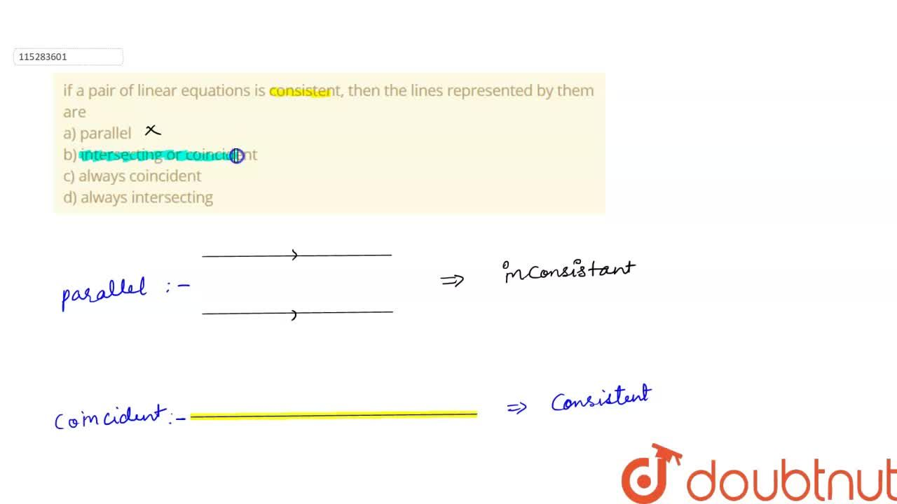 Solution for if a pair of linear equations is consistent, then