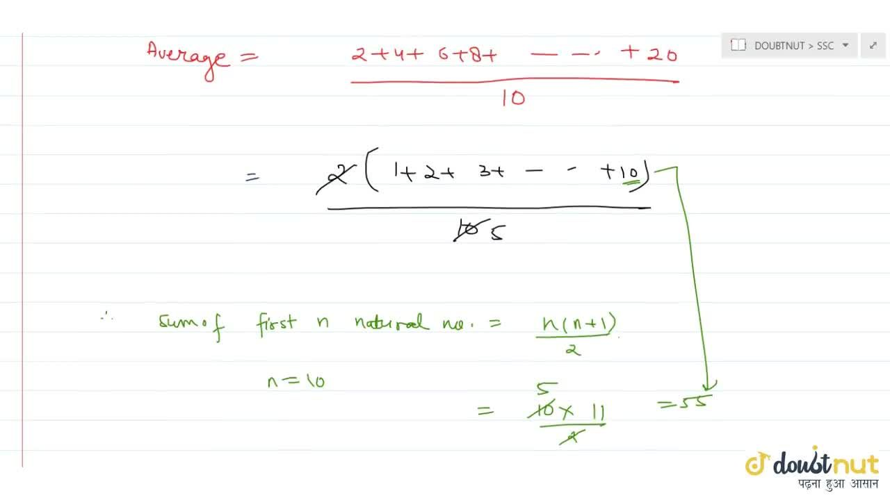 Solution for The mean of   the first ten even natural numbers