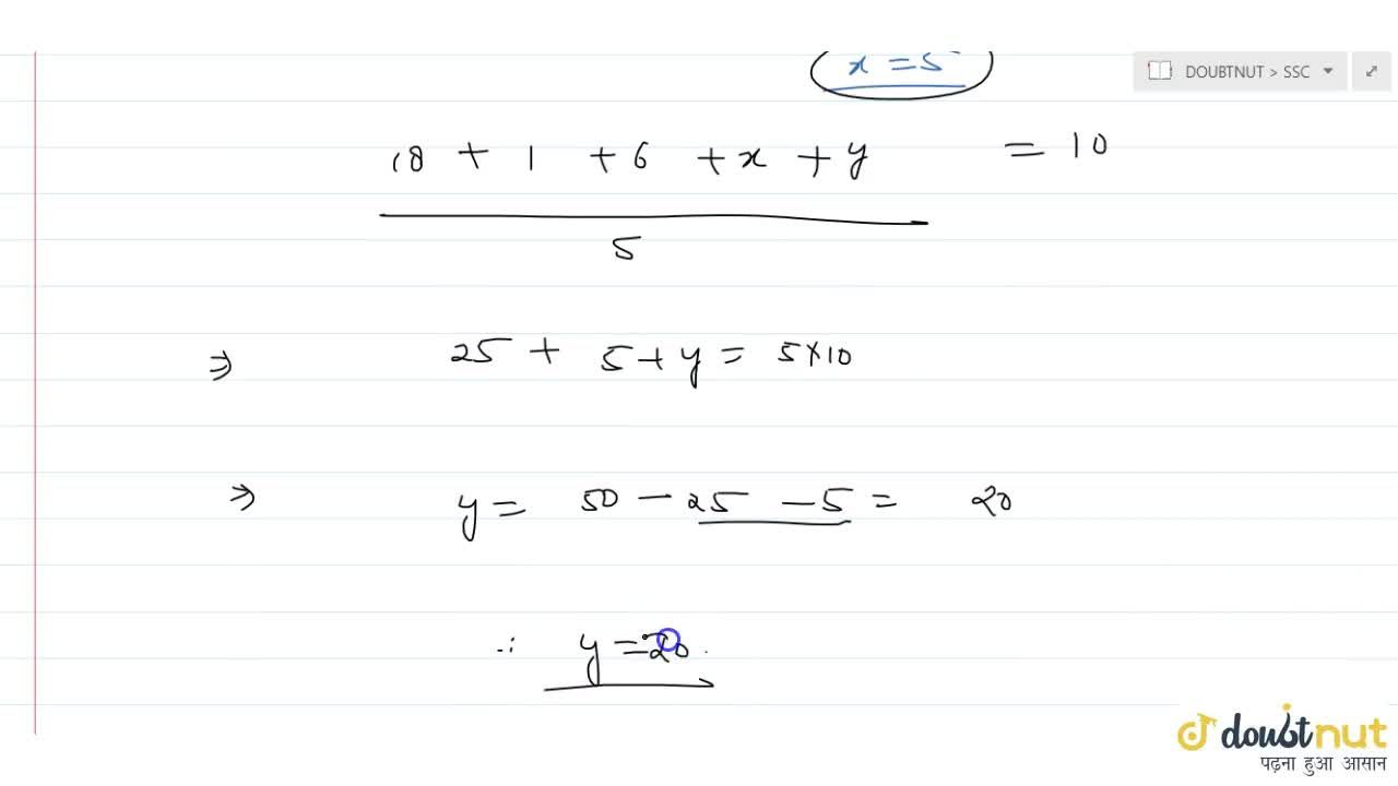 Solution for The average   of 2, 7, 6 and x is 5 and   the