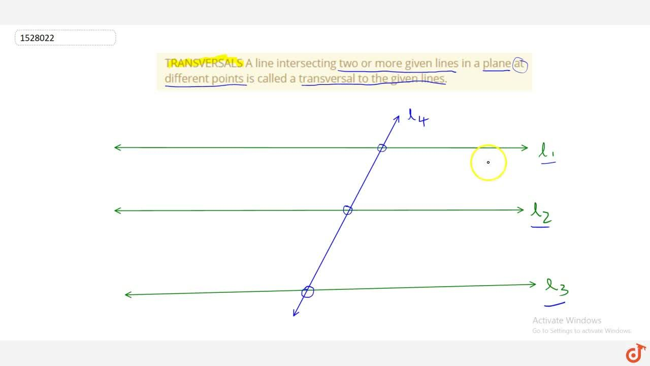 Solution for TRANSVERSALS A line intersecting two or more given