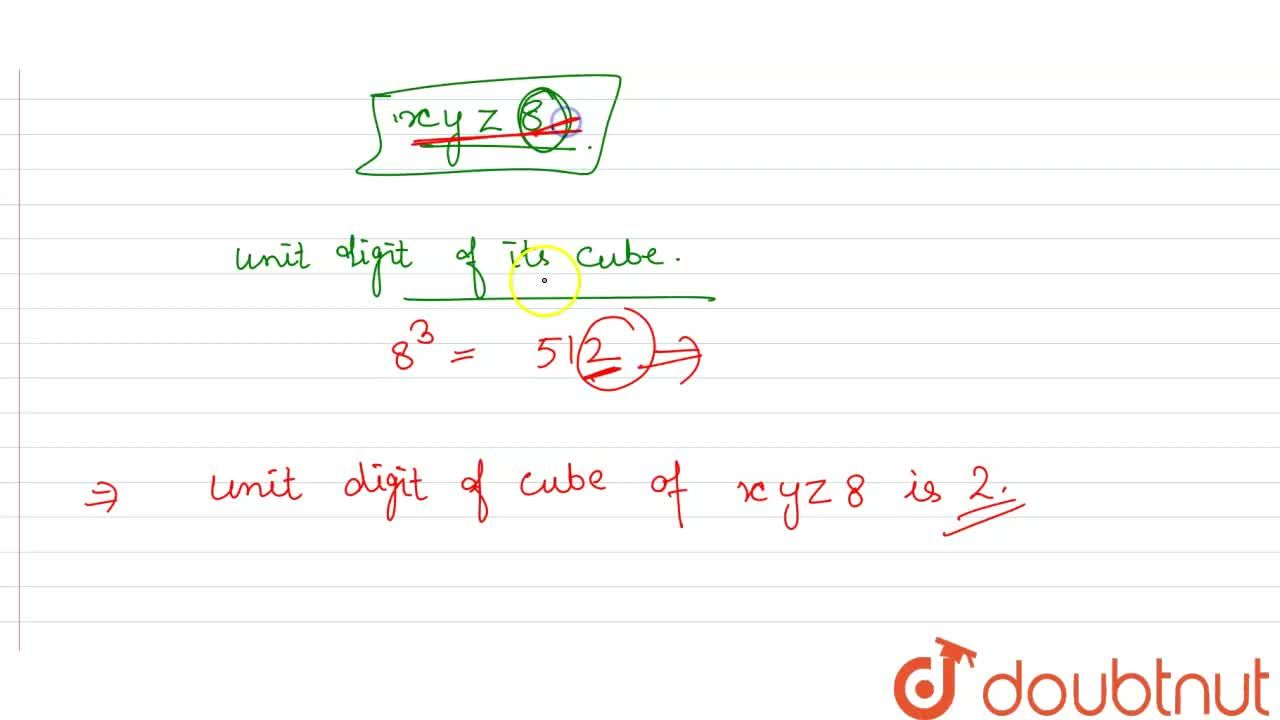 Solution for The digit in the units place for the cube of a fou